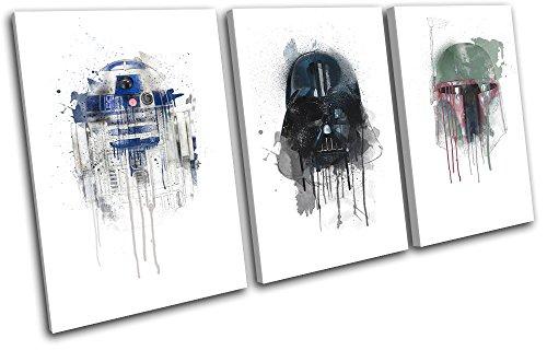 Bold Bloc Design - Star Wars Retro Paint Movie Greats 90x45cm TREBLE Leinwand Kunstdruck Box gerahmte Bild Wand hangen - handgefertigt In Grossbritannien - gerahmt und bereit zum Aufhangen - Canvas Art Print