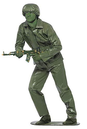 Spielzeug Soldat Kostüm - Smiffys, Herren Spielzeugsoldat Kostüm, Oberteil, Hose, Gürtel, Helm und Fußplatte, Größe: M, 23681