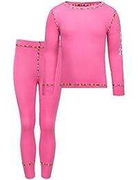 Kozi Kidz Vasa Base Layer - Conjunto térmico de ropa interior para niña, color rosa, talla 110 cm