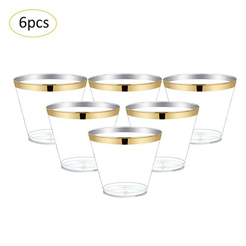 Disposable Party Tableware - 6pcs 270ml Wine Glass Hard Plastic Aviation Cup Juice Tiramisu Ice Cream Birthday Party Reusable - Tableware Disposable Party