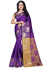 Vatsla Enterprise Women's Cotton Silk Saree (VKANDULA003PURPLE_PURPLE)