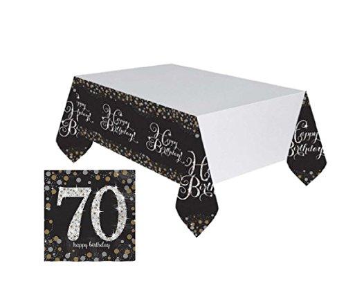 Feste Feiern Tischdekoration 70. Geburtstag | 17 Teile Deko-Set Tischdecke Servietten Gold Schwarz Silber Party Set Happy Birthday 70 (Teller Geburtstag 70.)