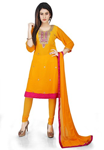 Utsav Fashion Embroidered Georgette Straight Suit in Yellow Ombre Color