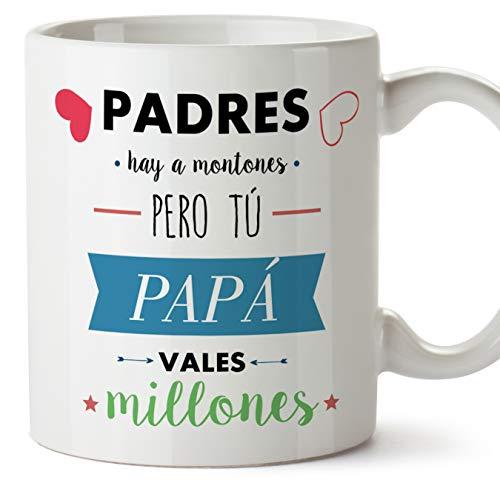 MUGFFINS Taza Papá - Padres hay a montones pero tú PAPÁ vales millones - Taza Desayuno con Frases/Mensajes. Idea Regalo Día del Padre. Cerámica 350 mL