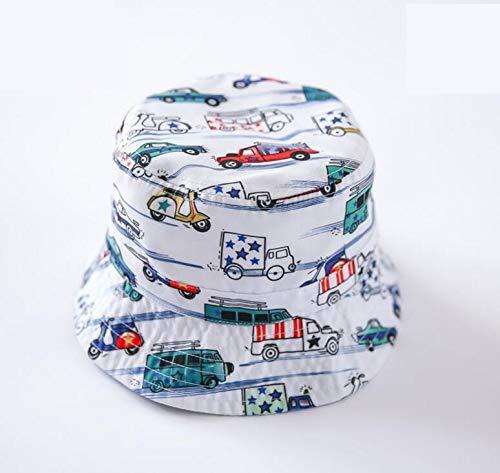 CHENFUI Kinder Auto Druck Kinder-Sonnenblende Packable Soft Cap Sommer Eimer Hut Weiß