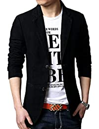 Mens Casual Blazer Slim Fit Suit Jackets Single Breasted Cotton Solid Coat  Jacket Two Button Casual 9f11834357f
