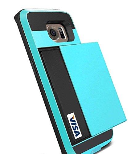 Galaxy S6Edge Fall, anuck Galaxy S6Edge Wallet Case [Anti Scratch] [Heavy Duty] [Karte Pocket] Dual Schicht stoßfest [weichen Gummi Bumper] Hybrid Schutz Card Case für Samsung Galaxy S6Edge -