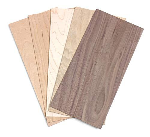 wodewa Holz Furnier Set 2mm Starkfurnier 5 Holzarten 30x14cm | 5er Set Sägefurnier Bastelholz Platten Echtholz Holzfurnier zum Basteln Holzplatte Bastelset Modellbau DIY - Dünnes Holz
