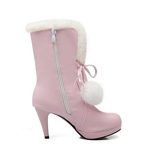 AllhqFashion Damen Rein Hoher Absatz Rund Zehe PU Leder Reißverschluss Stiefel, Pink, 40