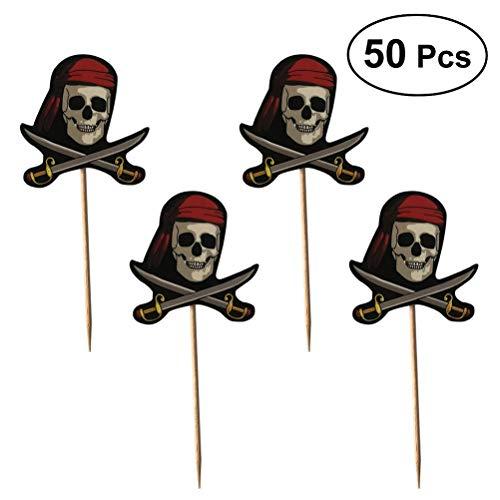 UPKOCH 50 stücke Skeleton Piraten Cocktail Sticks Halloween Kuchendeckel Obst Zahnstocher Einweg Sandwich Vorspeise Cocktail Sticks Party Supplies