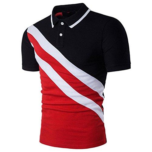 Herren Bluse Herren T-shirt,Beikoard ⚽Fußballweltmeisterschaft 2018 ⚽Mode Persönlichkeit Männer Casual Schlank Patchwork Kurzarm T-shirt Top Bluse Rundhalsausschnitt Fußball-WM-Sportbekleidung (Schwarz, S)