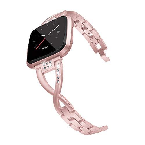 Straper Für Fitbit Versa Armband, Elegant Atmungsaktiv Milanese Edelstahl Uhrenarmbänder Metall Ersatzarmbänder Starkem Magnetverschluss für Fitbit Versa Sport Klein Damen Rose-Gold Einweg Package