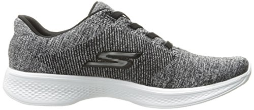 Skechers Go Walk 4-Serenity, Chaussures de Running Femme Black/White Knit