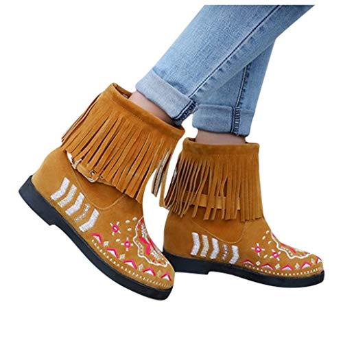 DNOQNFrauen Stiefeletten Stiefel Boots Mit Fransen Stiefel Dame Mode Beiläufig Drucken Kurz Stiefel Große Größe Wildleder Stiefelette Gelb 37