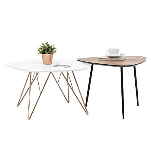 Selsey Penta und Rosin - Beistelltisch-Set/Kaffeetisch 2er-Set 76x75cm und 59x56cm (Nussbaum/Schwarz) -