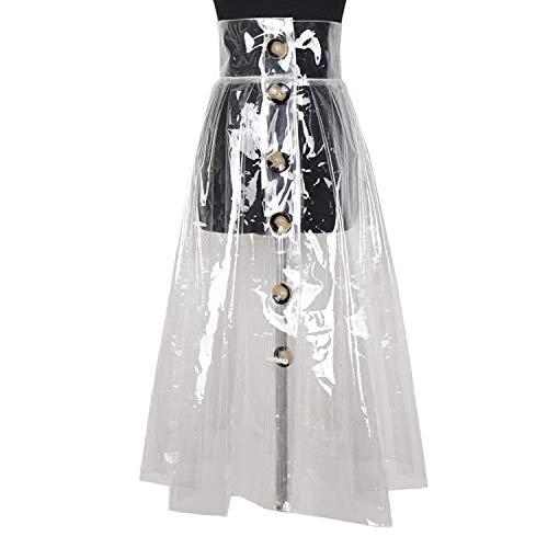 DQHXGSKS PVC Transparent A-line Rock Frauen Taste Hohe Taille Midi Röcke Weibliche Mode Kleidung Sommer Neue Große Größen M Transparent - Pvc-taste