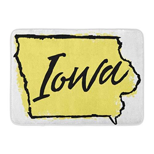 shyly Fußmatten Badteppiche Outdoor/Indoor Fußmatte Karte Handgezeichnete Iowa State America Amesiowa Grenze Cursive Desmoines Badezimmer Dekor Teppich 23,6 (L) x 15,7 (W) Zoll