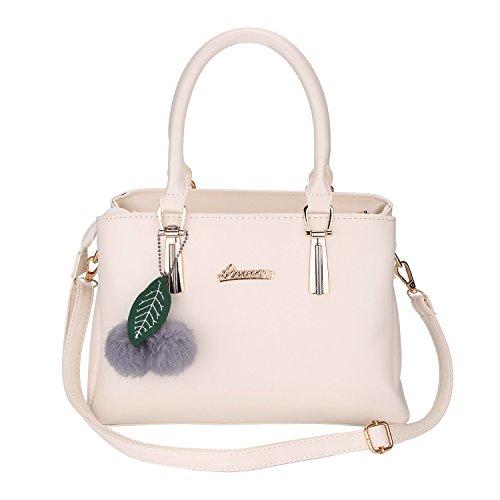 Frauen PU Leder Henkeltaschen mit Hairball Vintage Tasche Handtasche Umhängetasche Damen (Weiß) (Weiß-handtasche Tasche)