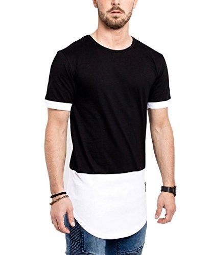 Phoenix Oversize Panel T-Shirt Weiß Schwarz Grau Herren Longshirt Schwarz-Weiß