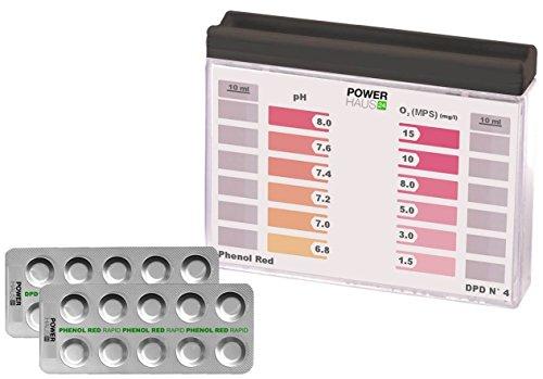 POWERHAUS24 - Wassertester, Pooltester für pH-Wert und Aktivsauerstoff mit 20 Tabletten