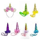 BONAMART Einhorn Haarreif Kostüm Kinder 7 Stück Blumen Mädchen Stirnband Party 7 Pack