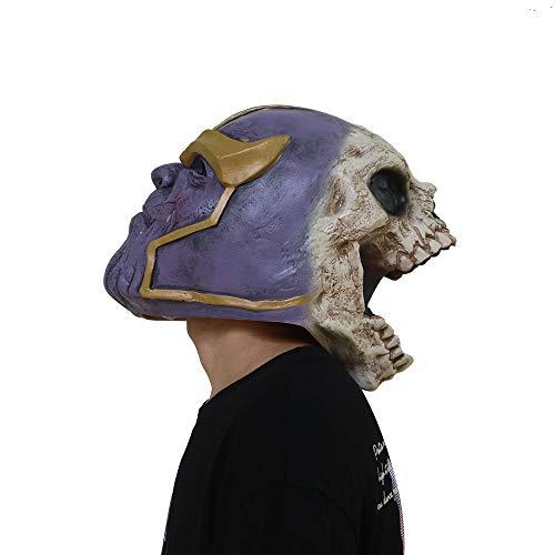 VAWAA Deluxe Thanos Maske Avengers Infinity Krieg Zombie Bösewicht Latex Helm Cosplay Kostüm Halloween Requisiten (Deluxe Bösewicht Kostüm)