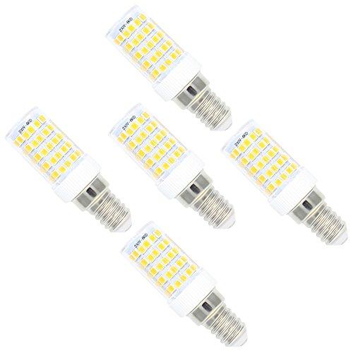 E14 Fassung 10W Dimmbar LED Lampe,3000K Warmweiß 800LM,86 SMD 2835,AC 220V-240V,360° Abstrahlwinkel,5er-Pack (Geringer Energie Mini-kühlschrank)