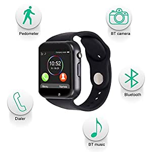 iBall Andi Spirinter 4G Compatible Bluetooth Smart Watch supports 3G, 4G Phones Wrist Watch Phone with Camera & SIM Card Support Hot Fashion New Arrival Best Selling Premium Quality Lowest Price with Apps Touch Screen, Multi Language with Android Ios mobile tablet iphone Silver By JOKIN