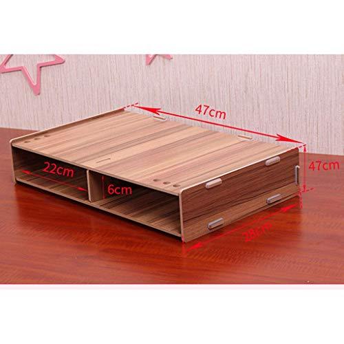 SS&LL Monitorständer Holz Ergonomischer Bildschirm Laptopständer mit Aufbewahrung Schnelle Installation Bildschirmwechsler-C