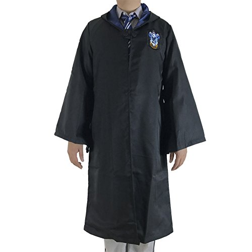 Great Adult Harry Potter Gryffindor Slytherin Ravenclaw Hufflepuff Fancy Robe Cloak Costume And Tie (M, Ravenclaw Robe&Tie) (Harry Potter Robe)