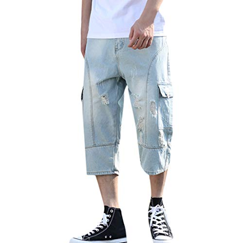 Calf Light Blue Jiegreat Hole Men's Casual Length Pants Summer Straight ☀ Jeans Loose rxoWBdeC
