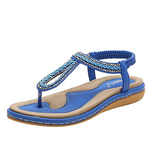 SHE.White Damen Sommer Elegant Sommer Zehentrenner Glitzer Leder Flach Sommerschuhe Bohemia Beach Sandal Flach Sandals PU Leder Flip-Sandalen Toe Separator (Flache Schaffell-leder Ferse)