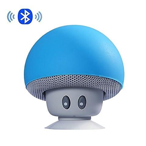 IPUIS Mignon Champignon Mini Enceinte Portable Bluetooth Haut Parleur avec Micro Intégré et Ventouse pour Smartphone iPhone, iPad, Samsung etc - Bleu
