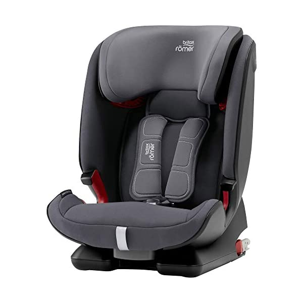 Britax Römer ADVANSAFIX IV M Group 1-2-3 (9-36KG) Car Seat- Storm Grey Britax Römer Our patented pivot link isofix system directs the force first downward into the vehicle seat, and then forward more gently - greatly reducing the risk of head and neck injury for your child We believe that a 5-point harness is the safest way to secure your child in a car seat because it keeps your child safe and tight in the seat's protective shell Soft neoprene performance chest pads fit comfortably on your child's chest. They help reduce your child's movement in the event of a collision, and add even greater comfort to the 5-point harness 1