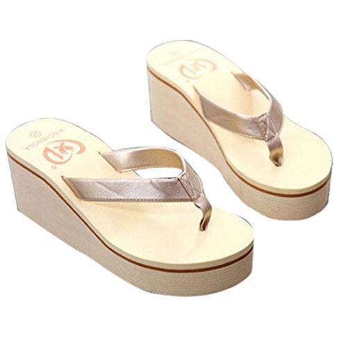 DEELIN Sandalen, Schuhe Damen Sommer Bohemia Floral Beach Sandalen Keil Plattform Thongs Hausschuhe Flip Flops Pailletten Rutschfest Steigung Muffin Slope (38, Golden)