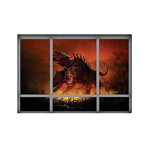 ARAYACY Kreative Stereo 3D Gefälschte Fenster Wandaufkleber/Halloween Hölle Dreiköpfige Hund Aufkleber/Wohnzimmer Schlafzimmer Dekoration Malerei 48,5 * 68 cm