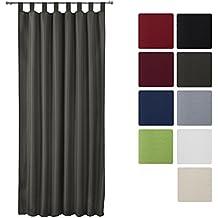Beautissu® Cortina opaca de lazos Amelie - 140x175 cm Antracita/Gris Uni - Elegante y decorativa para ventanas