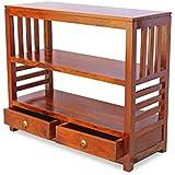 Unitek Furniture Sheesham Wood Console Tables with 2 Drawer for Living Room (Teak Finish)