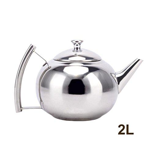 bozitian Teekanne mit kleinem Ausguss Edelstahl Teekanne Hotel Exquisite Wasserkocher, Teekanne mit gut gemachtem Sieb, großes Fassungsvermögen 1,5/2 Liter Exquisite Topf für Kaffee oder Tee, 2, 2L -