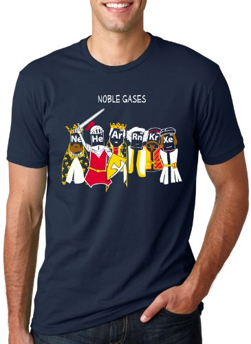 Crazy Dog T-Shirts Herren T-Shirt Noble Gases Science Funny Periodic Table Nerdy Tee für Geeks - Blau - Groß