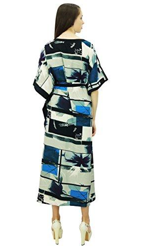 Motif De Plage Phagun Caftan Polyester Caftan Bohème Robe De Nuit Longue Maxi Noir Et Bleu Marine