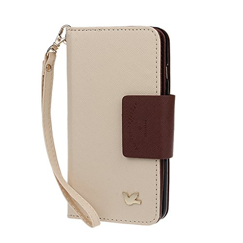 xhorizon housse étui portefeuille pour iPhone 5 5S en PU cuir avec coque de protection magnétique détachable et emplacements pour cartes Multiple Card Slots Folio Case Wallet pour iPhone 5 5S beige