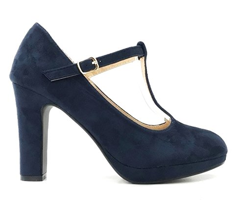 Damen Riemchen Mary Jane Pumps Plateau High Heels T-Riemen Blockabsatz 319 (41, Blau)