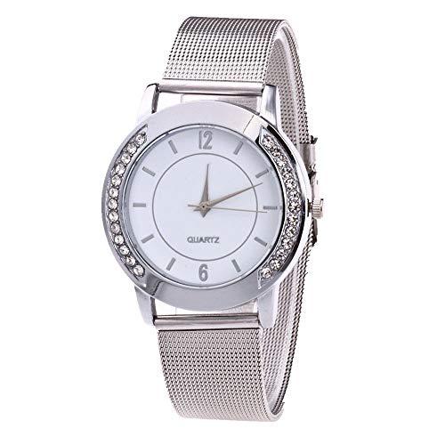 Lolamber Armbanduhr für Damen Herren Slim Uhr Armband Frauen Silikonband Geschäfts Klassisch Analog Quarz Dünn Armbanduhr mädchen Elegant Silber Uhr mit Weiß Zifferblat