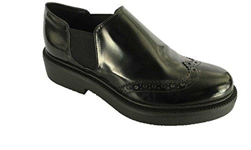 UNLACE scarpa donna nera mod ANGELINA 100% pelle suola gomma MADE IN ITALY tg 40