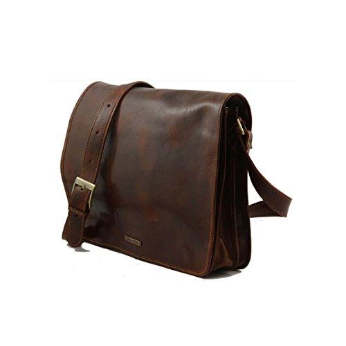 Tuscany Leather - Messenger double - Tasche mit Laptopfach aus Leder Schwarz - TL90475/2 Schwarz