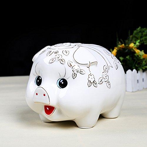 Weißes porzellan große blume schwein münze sparschwein kreative kind lagerung tank münze fass luxus schreibtisch wohnzimmer dekoration-A 26x18x18cm(10x7x7inch) - Silber-münze Lagerung