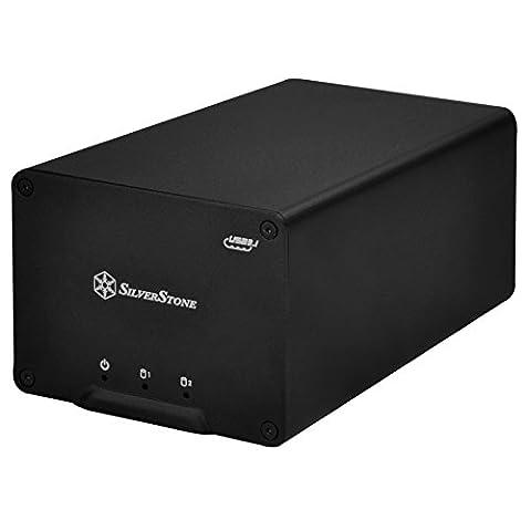SilverStone SST-DS223 - Boîtier disque dur externe USB 3.1 Gen2 avec 2 baies de stockage, pour HDD ou SSD 2.5 pouces,