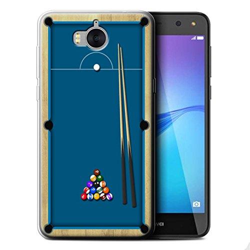 Stuff4 Gel TPU Hülle / Case für Huawei Y6 2017 / Billard Blau Muster / Spiele Kollektion