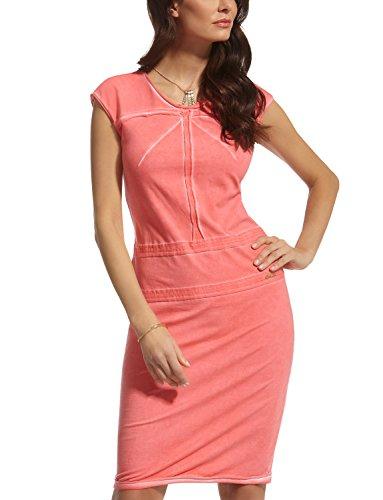 Ennywear 210064 Simple Robe De Style Manches Courtes Avec Des Coutures Ornementales – Fabriqué En UE Corail